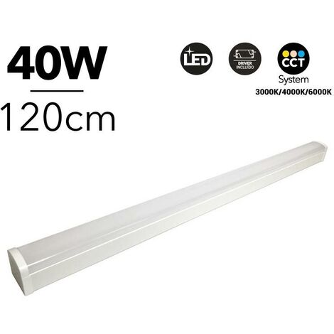 Luminaria lineal LED CCT 40W 120cm con selector de temperatura de color