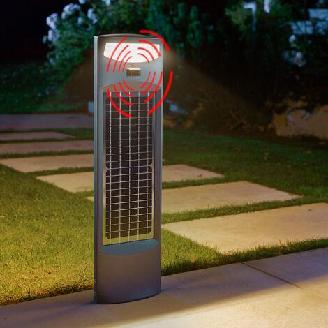 Luminaria solar de pie con sensor y LED de 20W y panel solar de 2000lm con luz blanca cálida para jardín