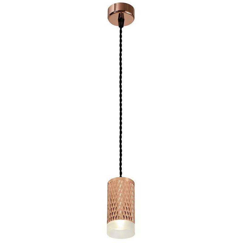 Image of 1 Light 11cm Ceiling Pendant Light GU10, Rose Gold, Acrylic Ring - Luminosa Lighting
