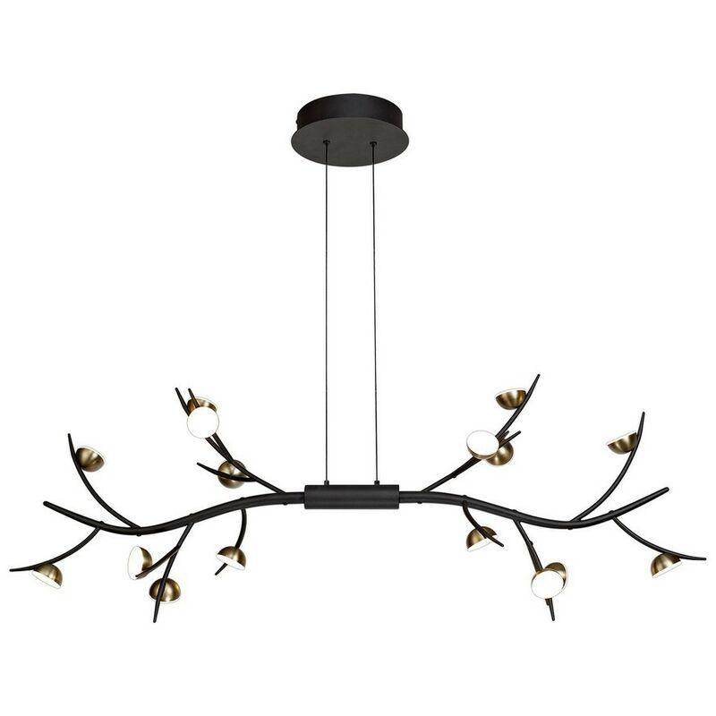 Image of 16 Light Linear Ceiling Pendant, 16 x 3W LED, 3000K, 2640lm, Black, Antique Brass - Luminosa Lighting