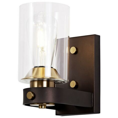 Luminosa Lighting - Wall Lamp 1 Light E27, Brown Oxide, Bronze With Clear Glass Shades