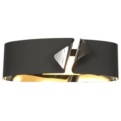 Luminosa Lighting - Wall Lamp, 1 x 10W LED, 3000K, 700lm, Sand Anthracite, Polished Chrome