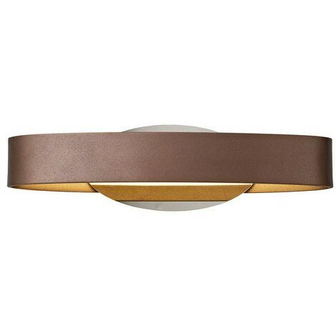 Luminosa Lighting - Wall Lamp, 1 x 6W LED, 3000K, 480lm, Satin Brown, Polished Chrome