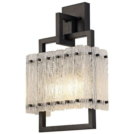 Luminosa Lighting - Wall Lamp, 2 Light E27, Matt Black, Crystal Sand Glass