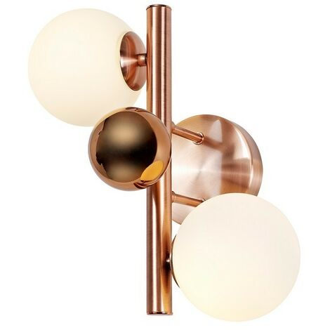 Luminosa Lighting - Wall Lamp, 2 x G9, Antique Copper, Opal & Copper Glass