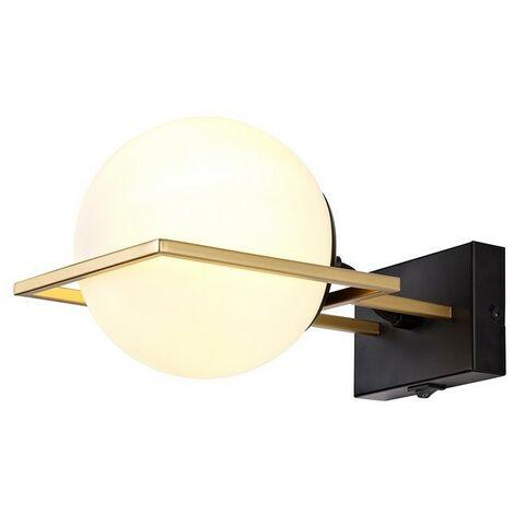 Luminosa Lighting - Wall Lamp Switched, 1 Light E14, Matt Black, Polished Gold