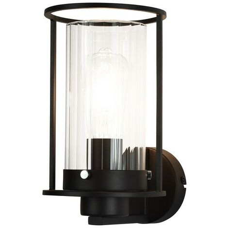 Luminosa Lighting - Wall Light, 1 Light E27, Black, Clear Glass