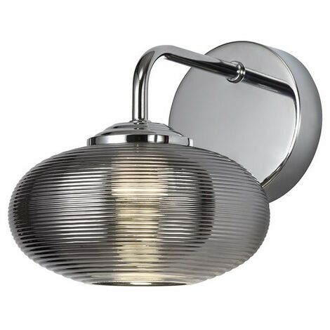 Luminosa Lighting - Wall Light Switched, 1 x 8W LED, 4000K, Smoked, Polished Chrome