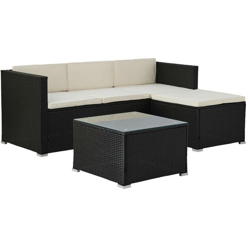 Lumio - Salon bas de jardin 4 places - Modulable - en résine tressée noire avec coussins beiges Couleur - Noir - Noir