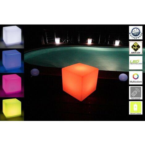 Lumisky 303167 - Cubo luminoso contemporaneo senza fili + telecomando con LED a risparmio energetico, in polietilene spesso, 40 x 40 x 40 cm, colore: Multicolore