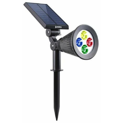 LUMISKY Spot solaire extérieur étanche - 4 LEDs colorées - 200 Lm - Tete pivotante a 90°C