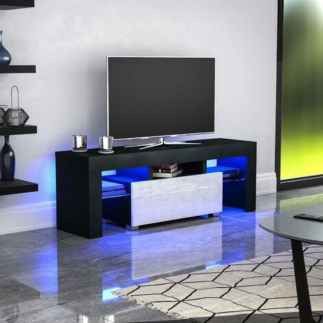 Luna 1 Drawer LED TV Unit, Black & White