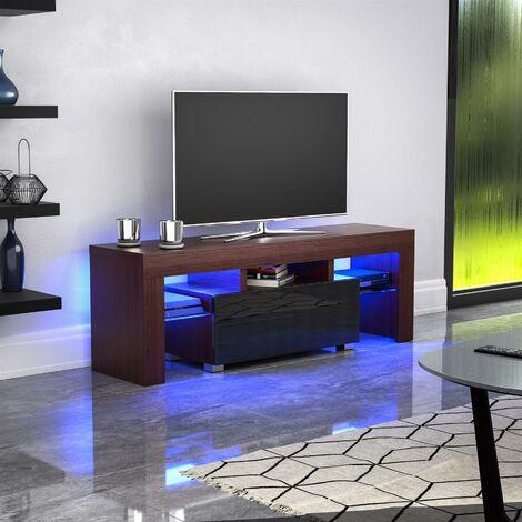 Luna 1 Drawer LED TV Unit, Walnut & Black