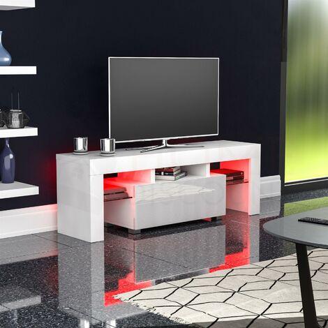 Luna 1 Drawer LED TV Unit, White