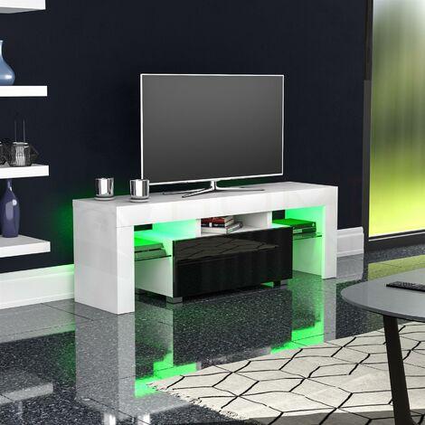 Luna 1 Drawer LED TV Unit, White & Black