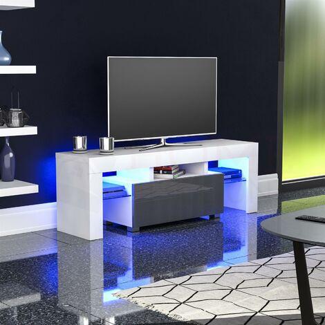 Luna 1 Drawer LED TV Unit, White & Grey