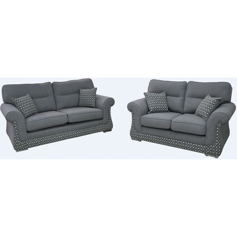 """main image of """"Luna 3+2 Sofa Suite Fabric Upholstered In Halifax Light Grey"""""""