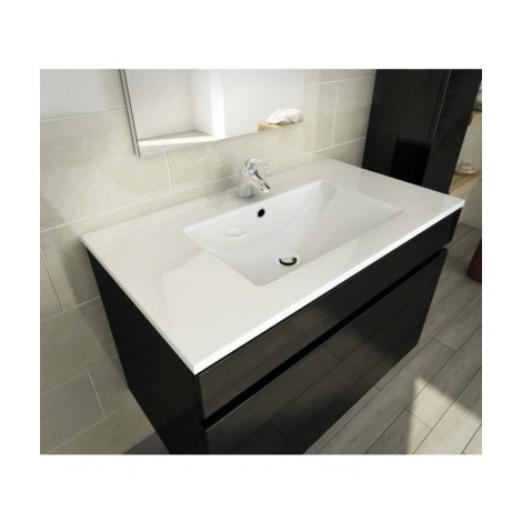 LUNA Ensemble salle de bain simple vasque L 80 cm - Noir verni