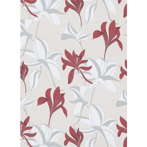 Luna Floral Textured Wallpaper Red And Cream