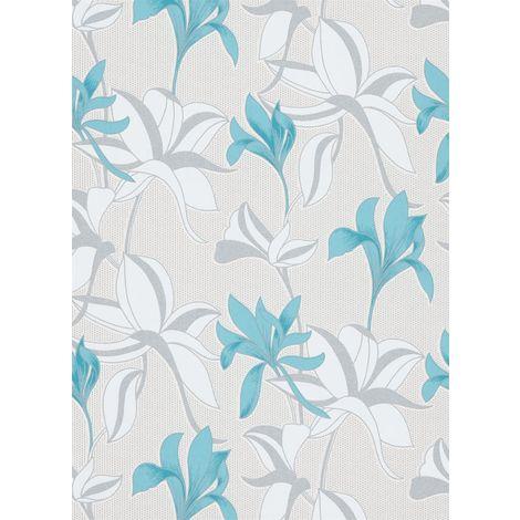 Luna Floral Textured Wallpaper Teal Duck Egg