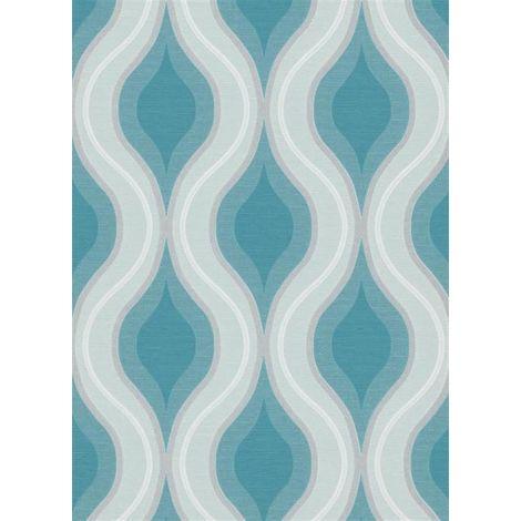 Luna Geometric Wave Textured Wallpaper Teal