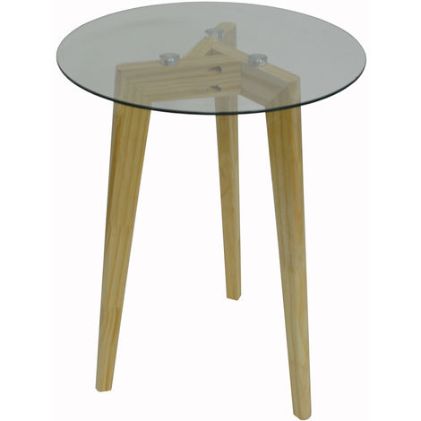 LUNA - Retro Solid Wood Tripod Leg and Round Glass End / Side Table - Natural / Clear