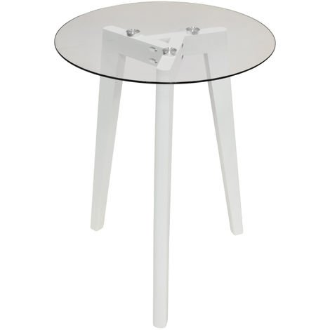 LUNA - Retro Solid Wood Tripod Leg and Round Glass End / Side Table - White / Clear