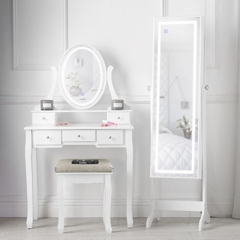Luna x Renee Dressing Table with Round LED Mirror Jewellery Cabinet LED Mirror Makeup Storage White Set