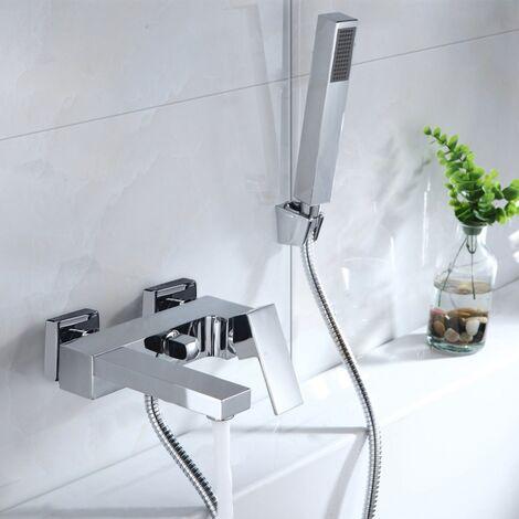 "main image of ""Lunar Wall Mounted Bath Shower Mixer Tap & Shower Handset Kit Chrome"""