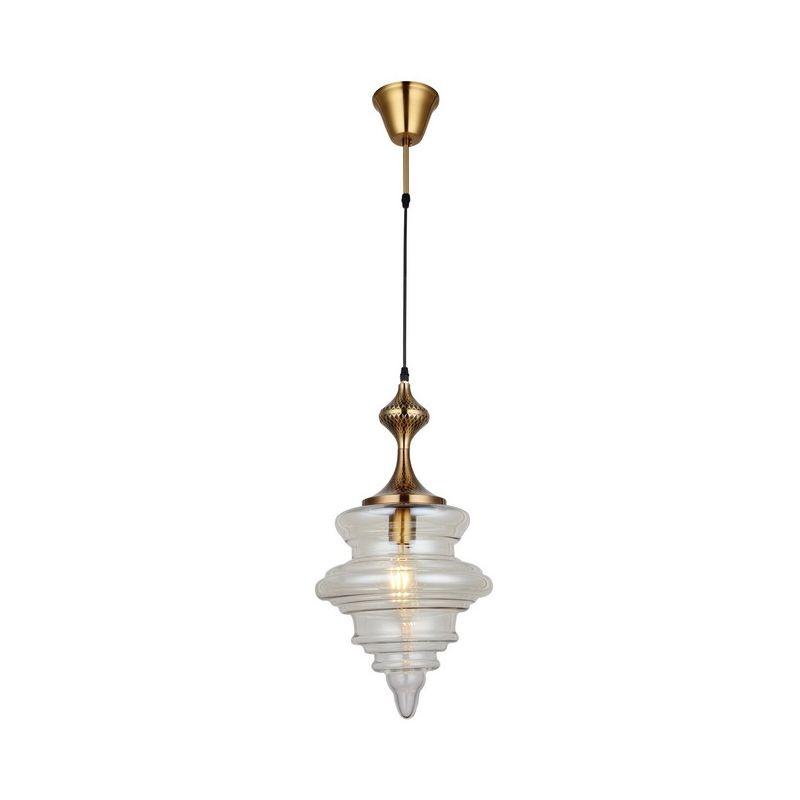 Homemania - Lunara Haengelampe - Kronleuchter - Deckenkronleuchter - Gold, Transparent aus Metall, Glas, 21,5 x 21,5 x 130 cm, 1 x E27 , Max 40W