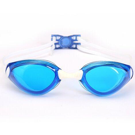 Lunettes de Natation Adulte - Unisexe Lunettes de Piscine - Compétition Anti-UV Etanches Lunettes avec Réglable Double Sangle pour Hommes Femmes Jeunes – blue,b