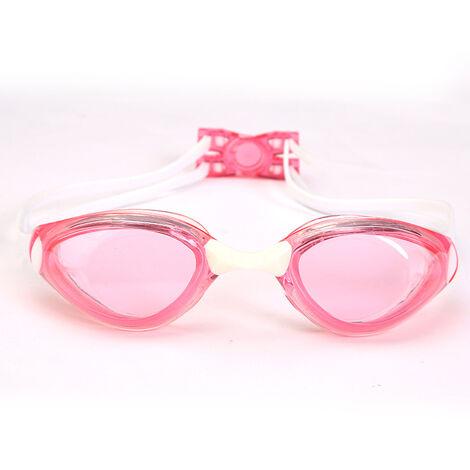 Lunettes de Natation Adulte - Unisexe Lunettes de Piscine - Compétition Anti-UV Etanches Lunettes avec Réglable Double Sangle pour Hommes Femmes Jeunes – rose