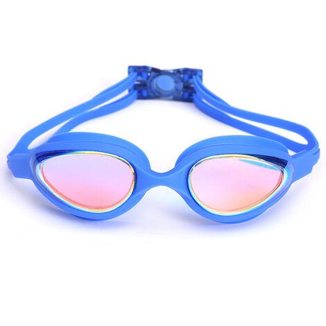 Lunettes de Natation, Lunettes de Piscine Aucune Fuite Protection UV Antibuée Longueur Réglable pour Hommes Femmes Adultes,blue