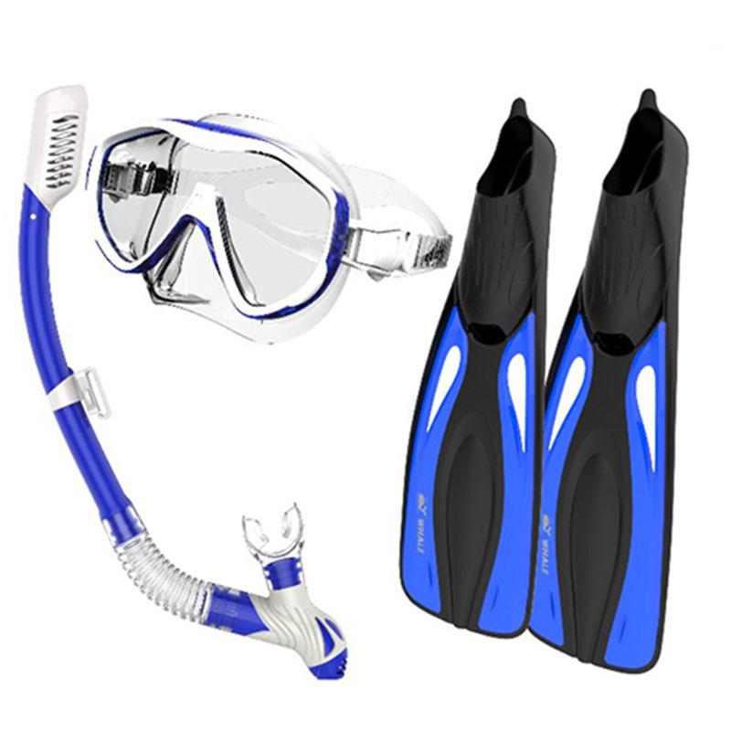 Lunettes Snorkel Flippers Set Snorkeling Lunettes Natation Palmes Plongee Avec Tuba Vitesse Forfait, Bleu, L