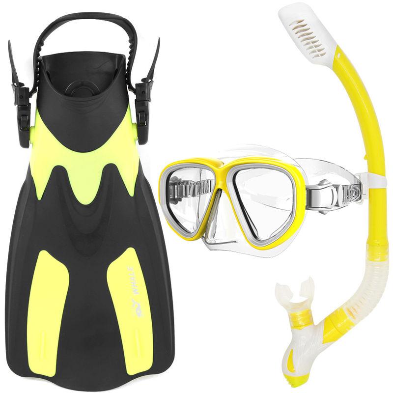 Lunettes Snorkel Flippers Set Snorkeling Verre Natation Palmes Plongee Avec Tuba Vitesse Forfait, Jaune