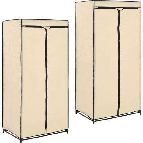 Luray 75cm Wide Portable Wardrobe by Rebrilliant - Cream