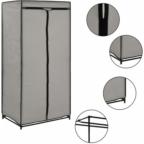 Luro 75cm Wide Portable Wardrobe by Rebrilliant - Grey