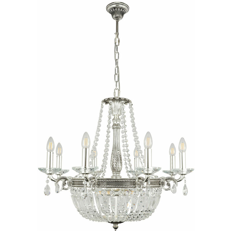 Globo - Decken Pendel Hänge Lampe Leuchte Kronleuchter Silber Antik Glas Kristalle