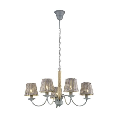 Lustre 5 lampes design Trio Rotin Gris Métal 110900511
