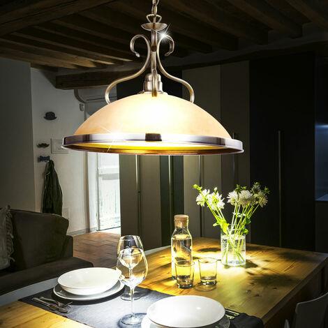 Ancien Cuisine Verre Plafond Éclairage Luminaire Ambre Laiton Suspension Lustre 0wNnm8