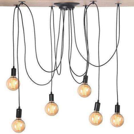 Lustre Araignee 6pcs E27 Plafonnier Industrielle Vintage Luminaire DIY pour Salon Chambre