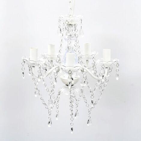 """main image of """"vidaXL Lustre avec 5 Ampoules Crystal Plafonnier Chandelier Lampe de Plafond Elairage Luminaire Salon Salle à Manger Intérieur Multicolore"""""""