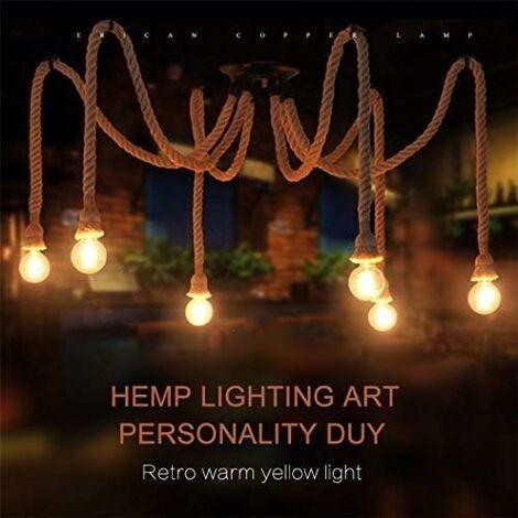 Lustre en corde de chanvre/style industriel rétro/salon salle à manger bar balcon/lampes ne comprennent pas les ampoules