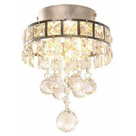 Lustre en cristal, Mini lampe suspension avec 3 lumières pour couloir, chambre à coucher, cuisine, chambre d'enfant