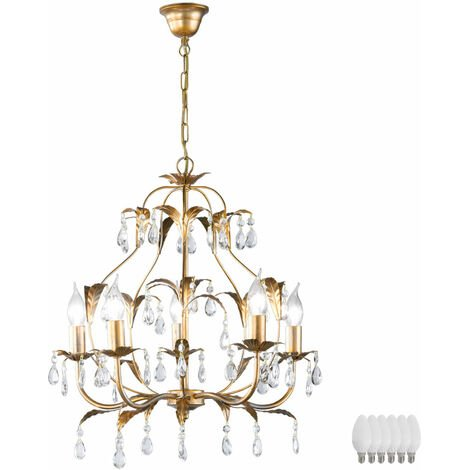 Lustre en cristal or salon salle à manger plafond suspendu lampe laisse dans l\'ensemble LED