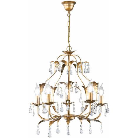 Lustre en cristal or salon salle à manger plafond suspendu lampe laisse design Honsel Leuchten 19601