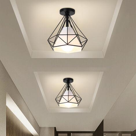 Lustre en Fer - 2pcs Plafonnier Cage Forme Diamant - E27 40W - Noir