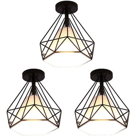 Lustre en Fer - 3pcs Plafonnier Cage Forme Diamant - E27 40W - Noir