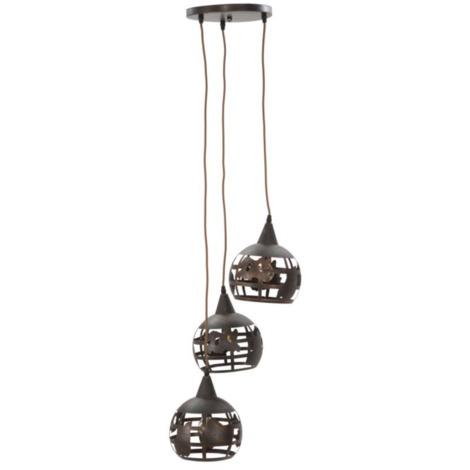 Lustre en fer forgé marron 3 ampoules style industriel INDUSTRY