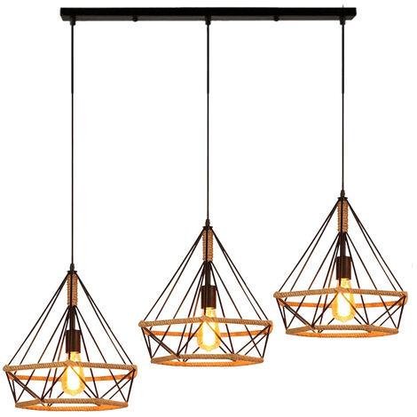 Lustre Fer Diamant Chanvre Corde Trois Abat-jour Simple Nordic Rétro Créatif Personnalité Restaurant Bar Suspension Luminaire Industrielle